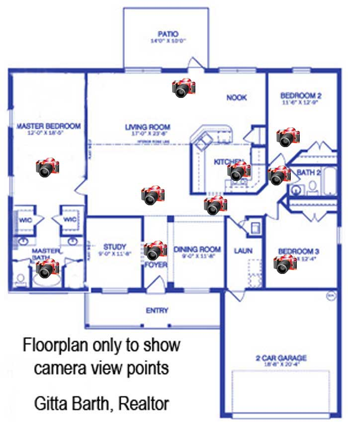 Floorplan Of The Sugarmill Woods Home With Camera Viewpoints