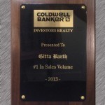 Coldwell Banker Gitta Barth Award No 1 in Real Estate Sales Volume 2013 Plaque
