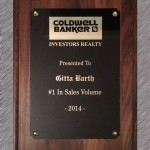 Coldwell Banker Gitta Barth Award No 1 in Real Estate Sales Volume 2014 Plaque