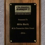 Coldwell Banker Gitta Barth Award No 1 in Transaction Sides Closed 2014 Plaque