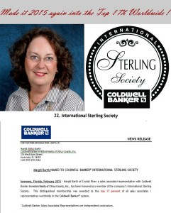 Coldwell Banker Gitta Barth International Sterling Society Award 2015