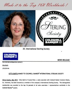 Coldwell Banker Gitta Barth International Sterling Society Award 2014