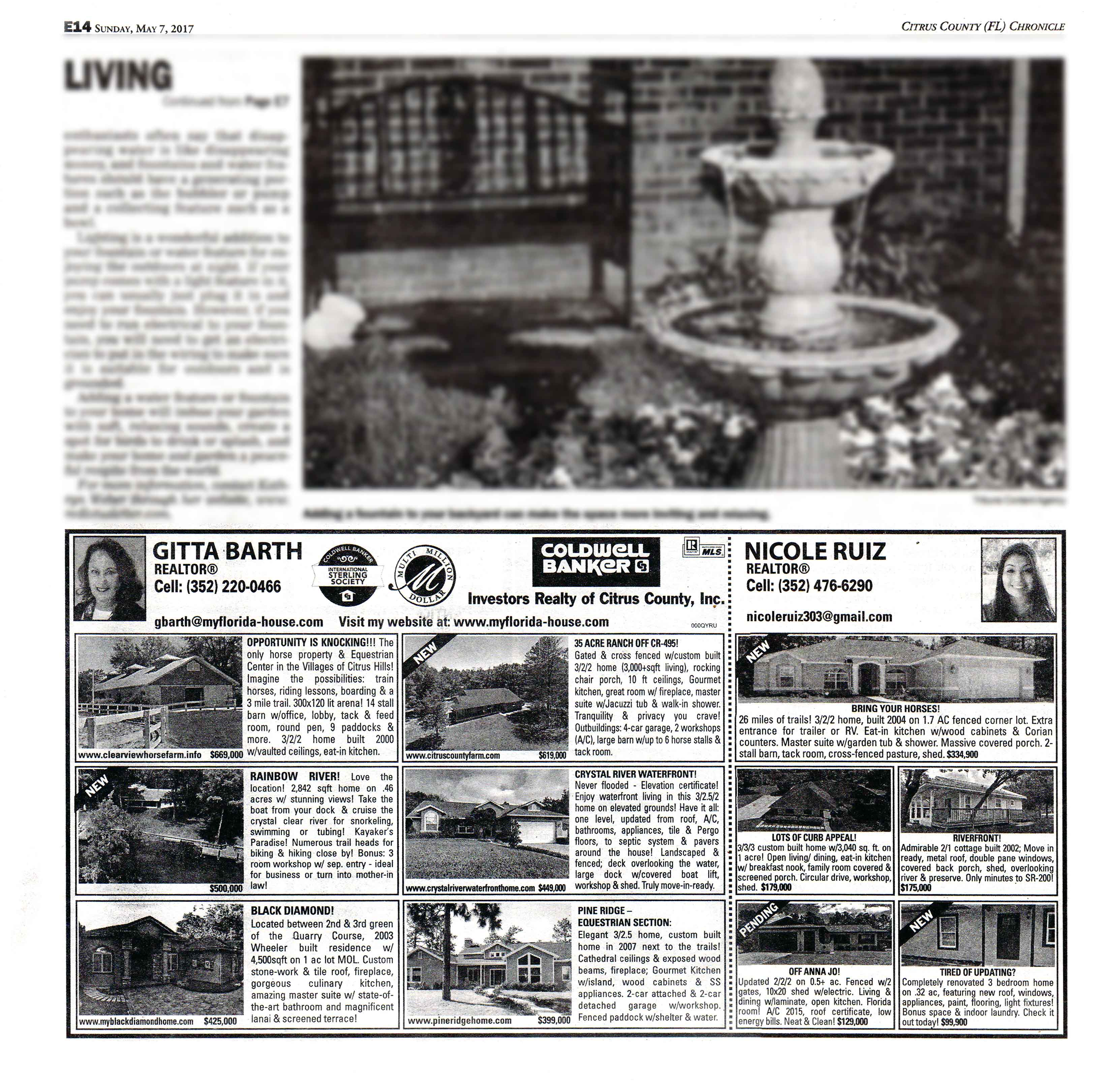My Homefront Ads 7  May 2017 in the Citrus County Chronicle