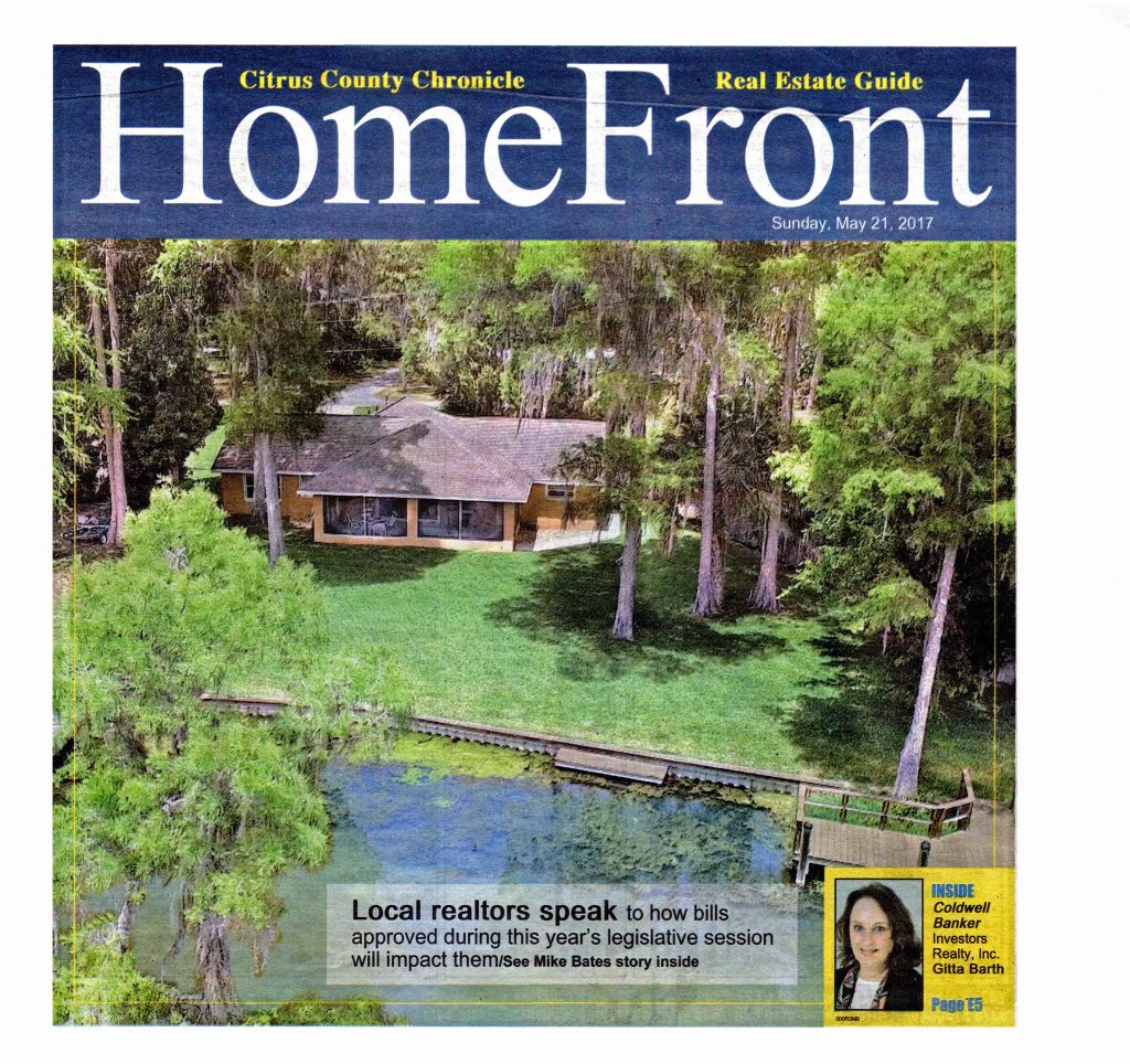 My property / real estate for sale listings advertised in the Homefront insert in the Citrus County Chronicle May 21., 2017
