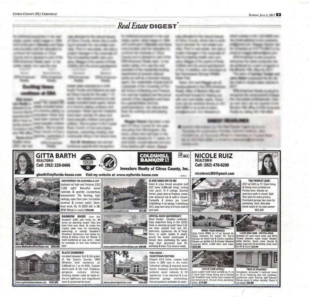 New Homes for Sale: Advertisement in the July 02, 2017, inset Home Front of the Citrus County Chronicle