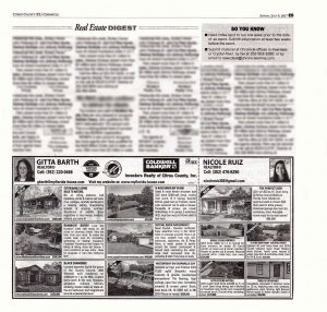 New Homes for Sale 9 July: Advertisement in the July 09, 2017, inset Home Front of the Citrus County Chronicle