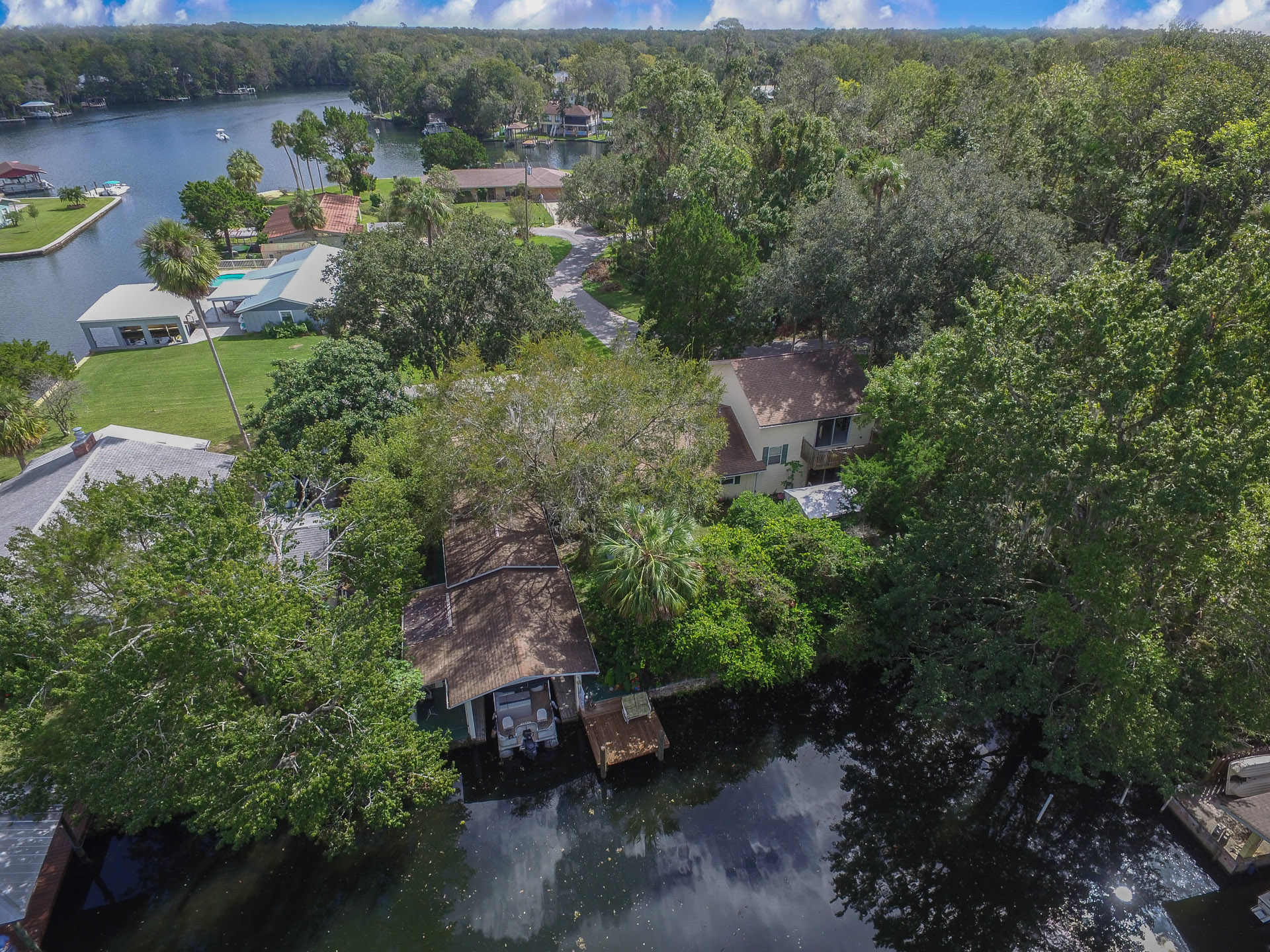 Aerial Photo of the Homosassa Waterfront Home for Sale on the Homosassa River in Citrus County
