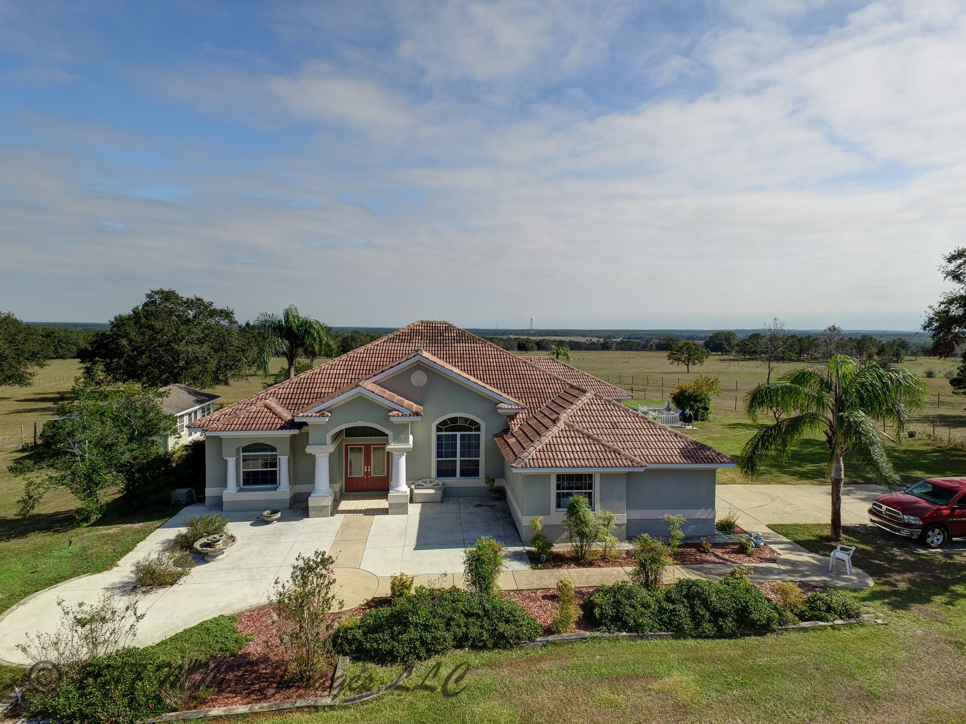 Aerial Photo of the Estate Home and Farm for Sale in Inverness, Citrus County