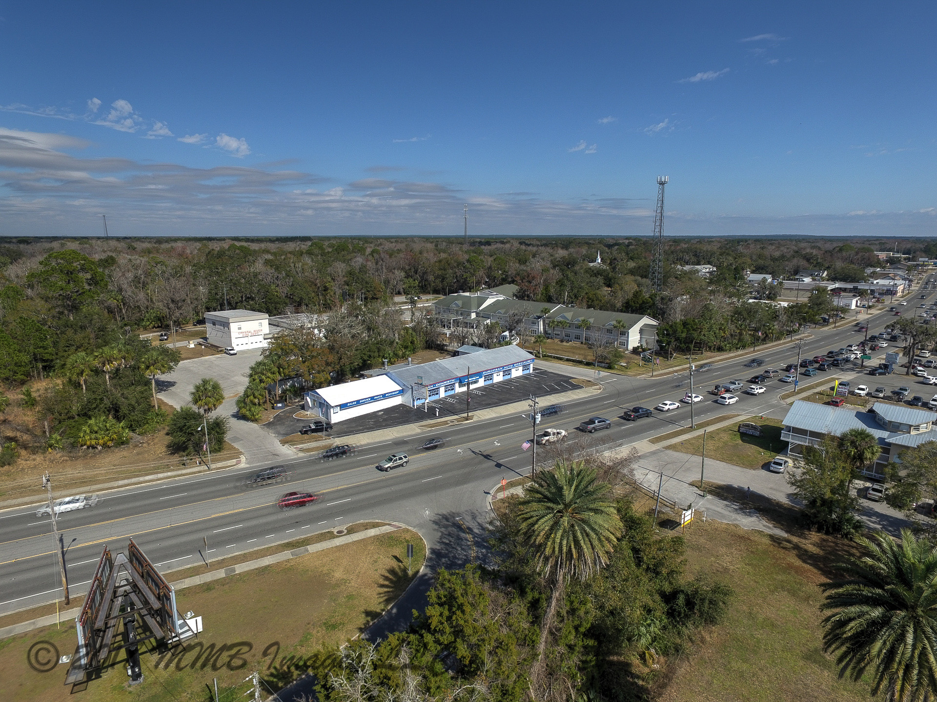 Aerial Photo of the Citrus County Car Repair Shop and Real Estate for Sale in Citrus County