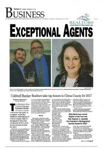 Realtor of the Year 2017 Citrus County Chronicle Article