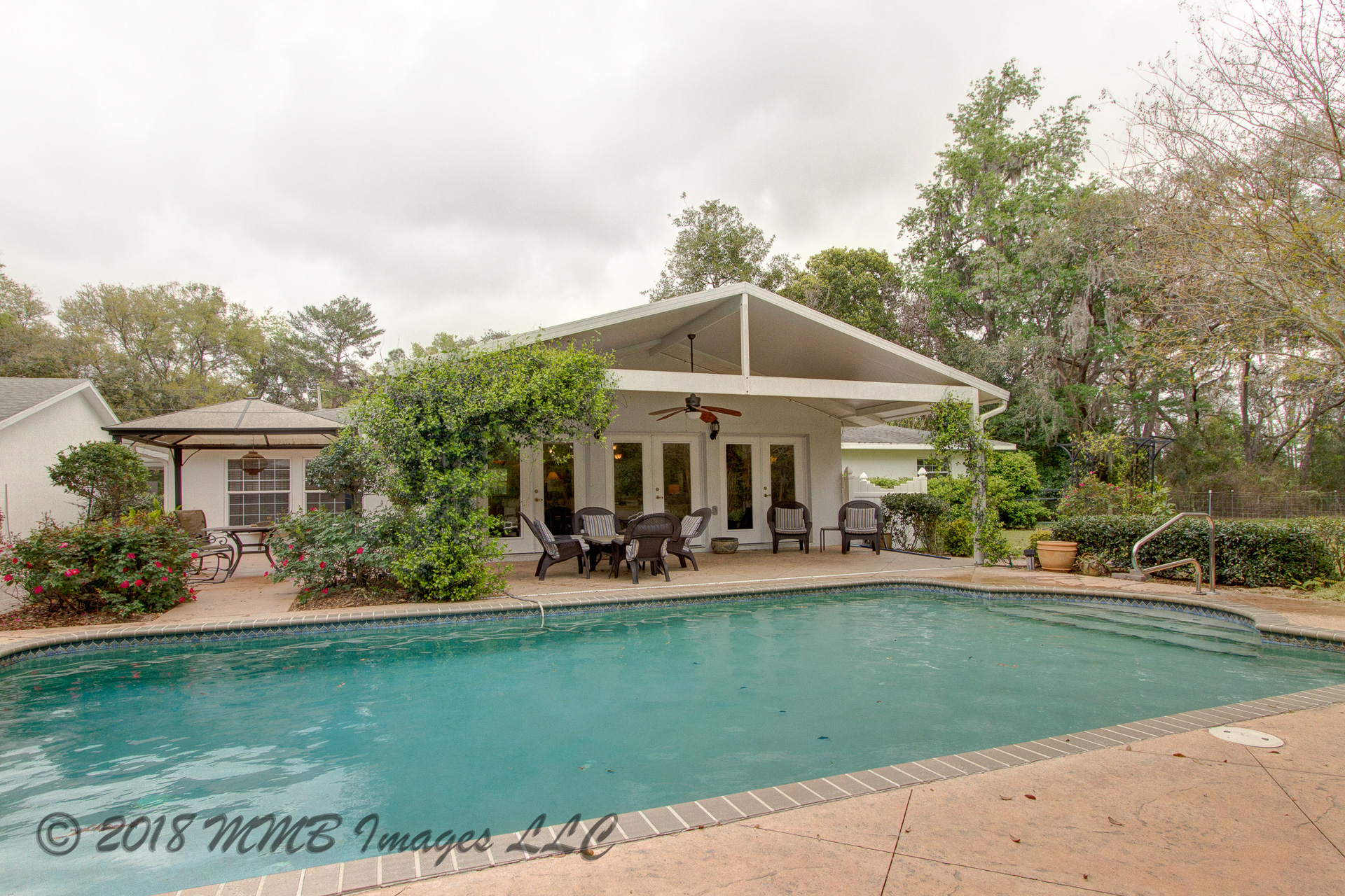 Patio and Pool of the Ranch Estate for Sale in Citrus